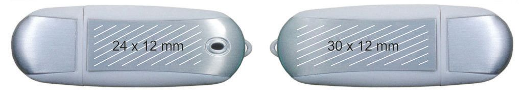 Áreas marcaje logos memoria USB clásica oval