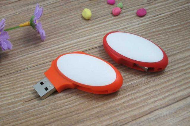 Memoria USB formato ovalado bicolor giratorio
