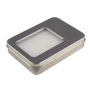 Caja en metal para memorias USB con ventana y espuma interior troquelada