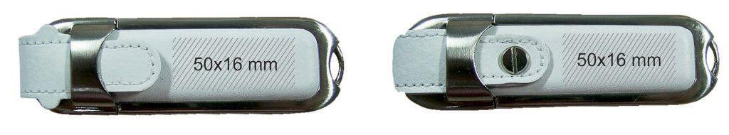 Marcaje logotipos memoria USB metal-cuero