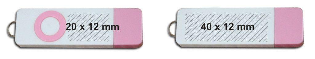 Área personalización pendrive USB barato bicolor