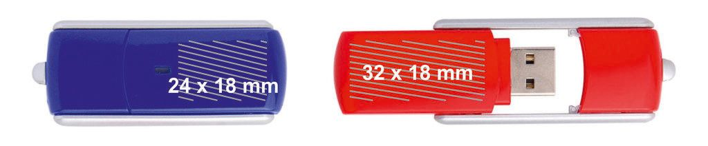 Áreas marcaje logos pendrive USB tapa giratoria PVC