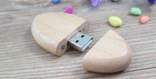Memoria USB en formato oval, fabricada en madera
