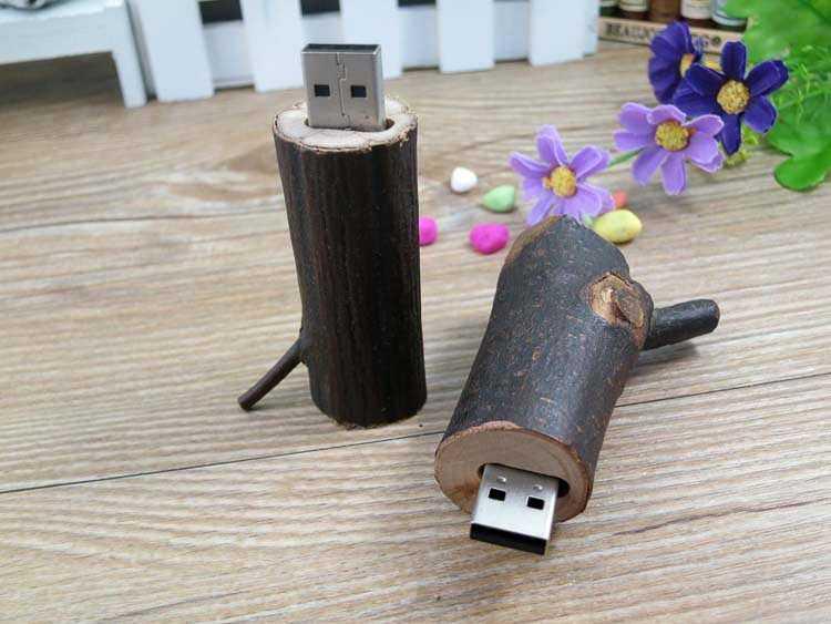 Memoria USB con carcasa de rama de arbol, madera natural