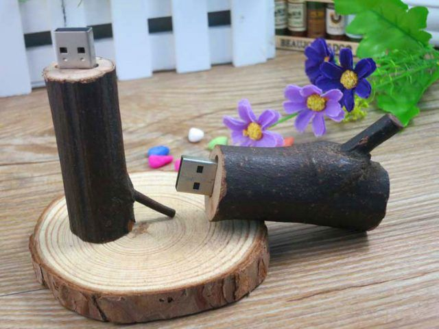 Memoria USB pendrive madera natural