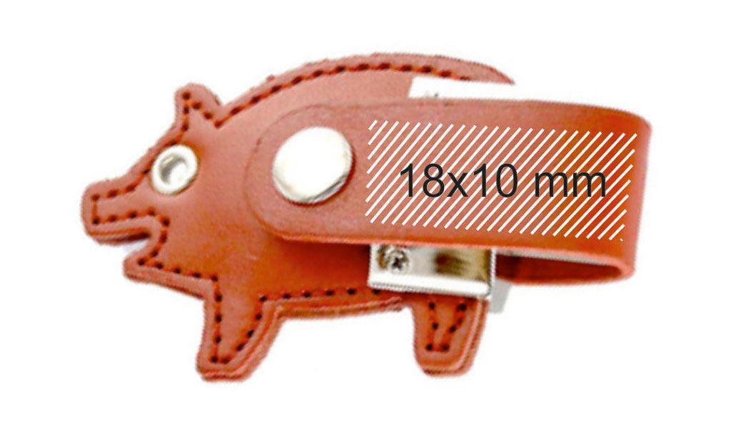 Area marcaje logotipos USB cuero forma de cerdo