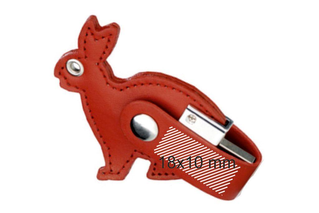 Area marcaje logo USB cuero forma de conejo