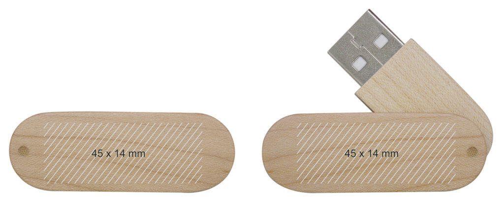 Pendrive memoria USB madera giratoria