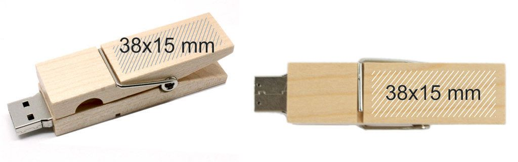 Areas marcaje pendrive USB pinza madera