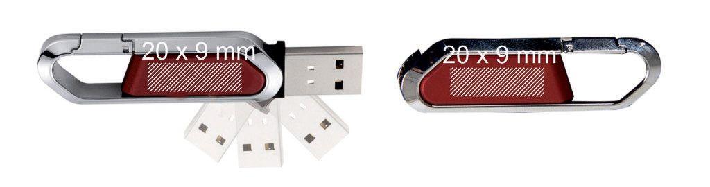 Areas marcaje logos pendrive USB mosquetón