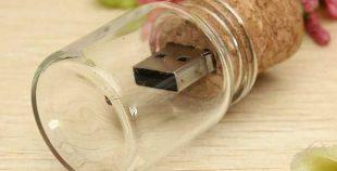 Pendrive memoria USB frasco cristal