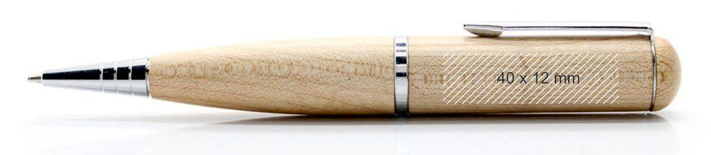 Área marcaje pendrive memoria USB bolígrafo madera