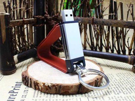 Pendrive memoria USB llavero cuero