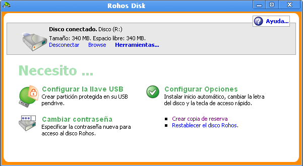 Interface Rohos Disk