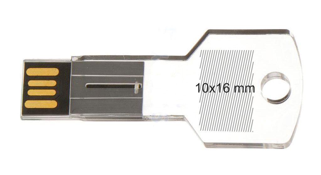 Area marcaje pendrive memoria llave USB transparente