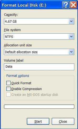 Interface formateo USB