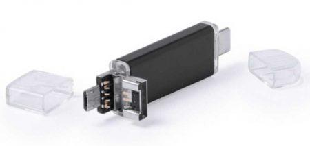 Pendrive triple conector USB, MicroUSB y nuevo USB-C reversible
