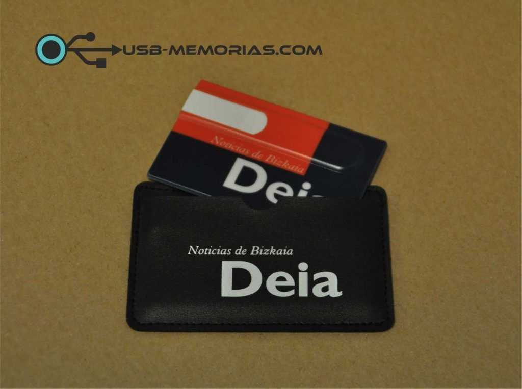 Pendrive USB tarjeta en funda polipiel con logo