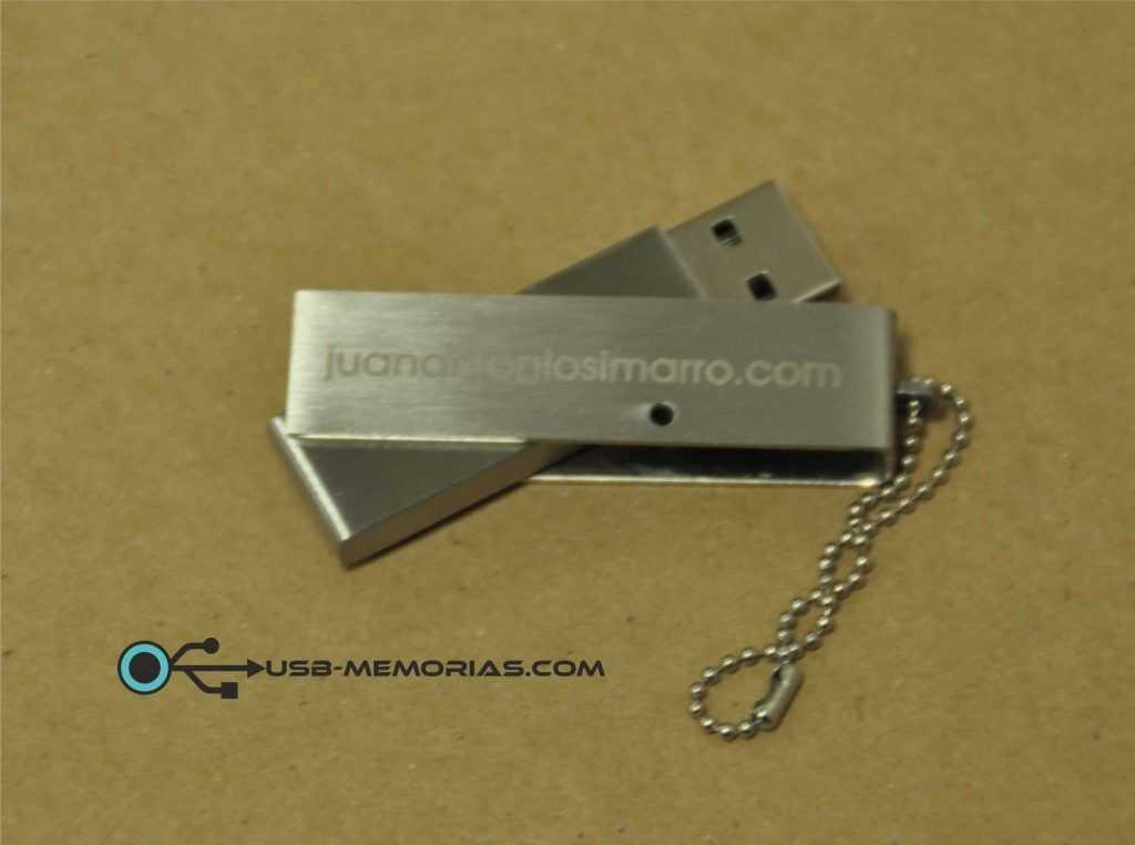 Pendrive USB metal giratorio con cadena