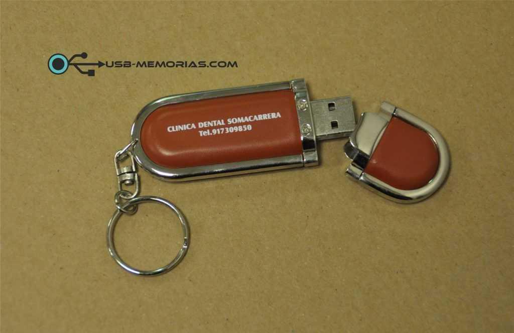 Memoria USB pendrive llavero metal cuero