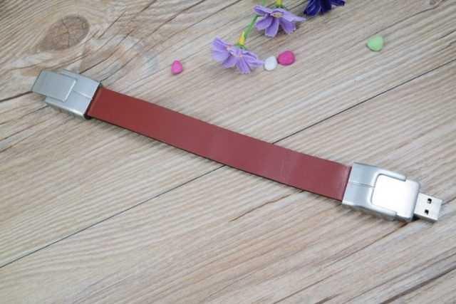 Pulsera USB cuero y metal