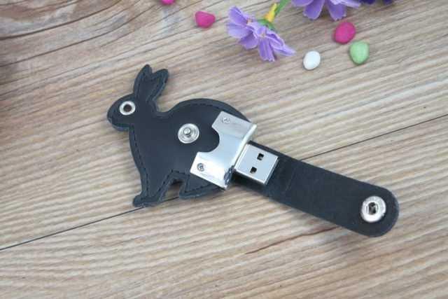 Pendrive memoria USB conejo cuero