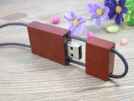 Pendrive colgante memoria USB madera cordon cuero