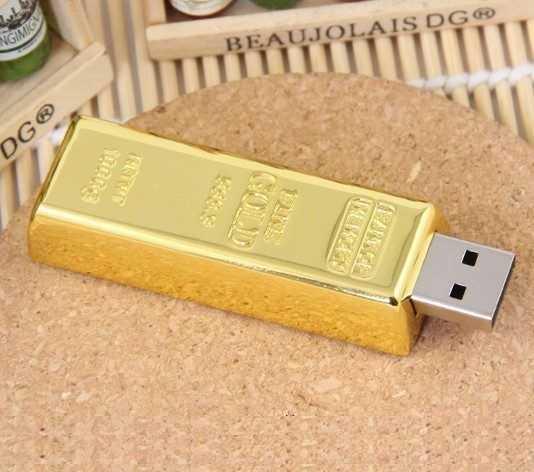 Memoria USB pendrive forma lingote oro