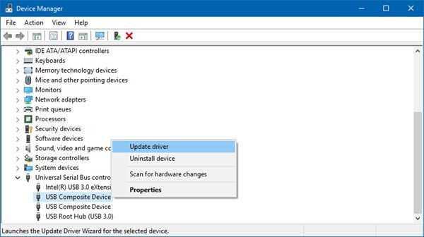 Actualización de controladores drivers USB