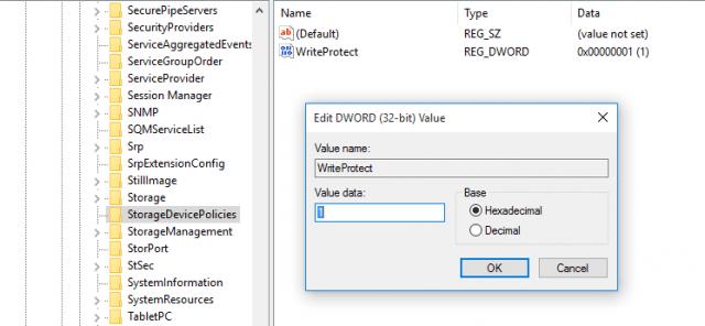 Eliminación protección contra escritura en pendrives USB