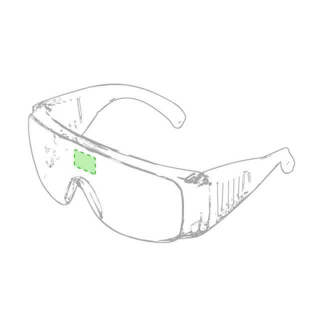 Área marcaje frontal gafas protección