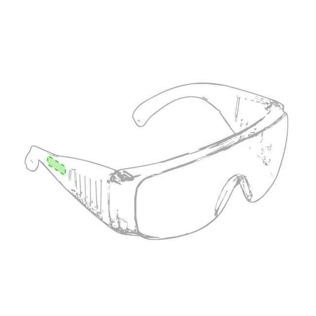 Área marcaje patillas gafas protección