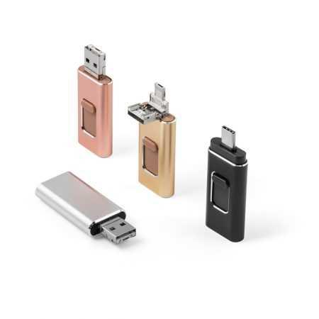 Pendrive USB con conector USB-C, MicroUSB y Lightning