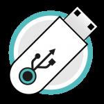 Icono servicio de grabación logotipos usb memorias